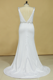 2019 Plus Size Wedding Dresses A Line V Neck Open Back With Beading Stretch Satin