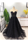 Elegant A Line Sweetheart Strapless Black Tulle Prom Dresses With STCPT11F6GE