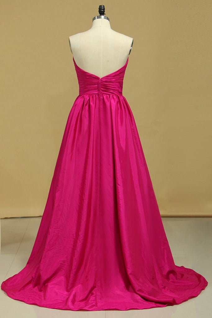 2019 Plus Size A Line Prom Dresses Sweetheart Fuchsia Sweep/Brush Taffeta Zipper Back