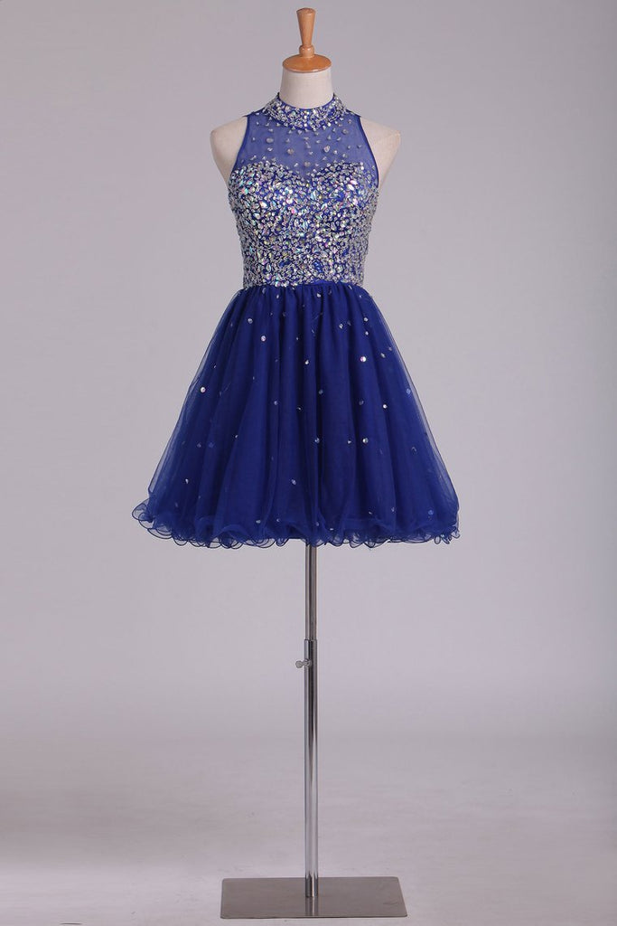 2019 High Neck Homecoming Dresses Beaded Bodice A-Line Dark Royal Blue Tulle Short/Mini