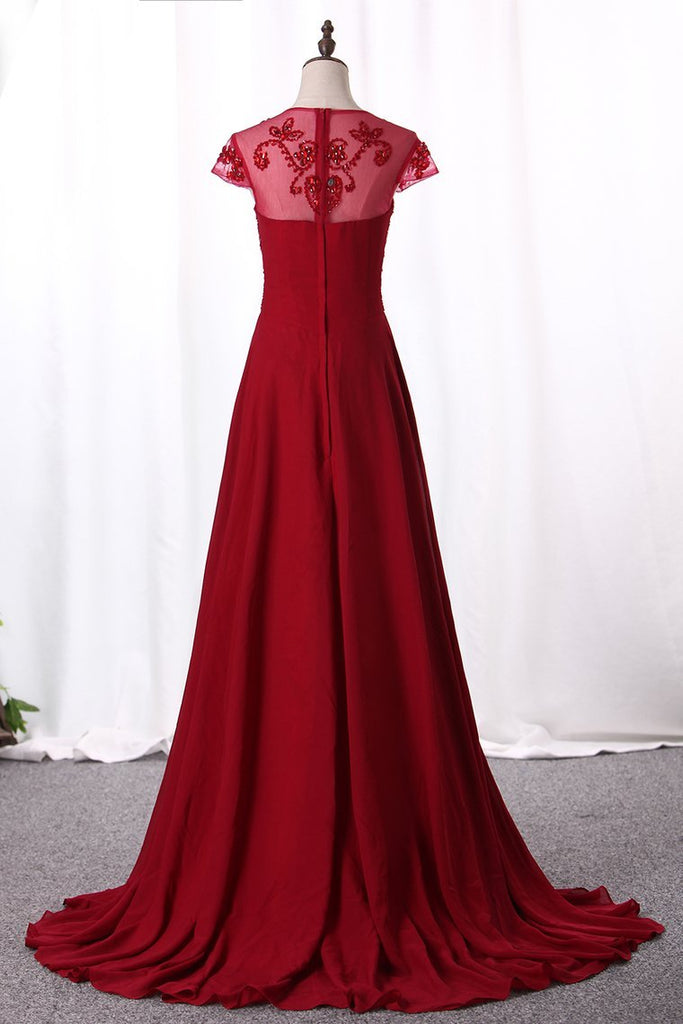 2019 Prom Dresses A Line Scoop Neck Empire Waist Chiffon With Beading Sweep
