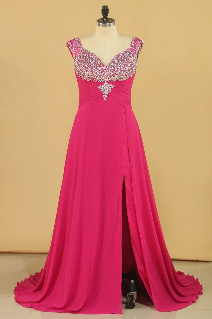 Prom Dresses Straps With Beads And Slit Sweep Train Plus