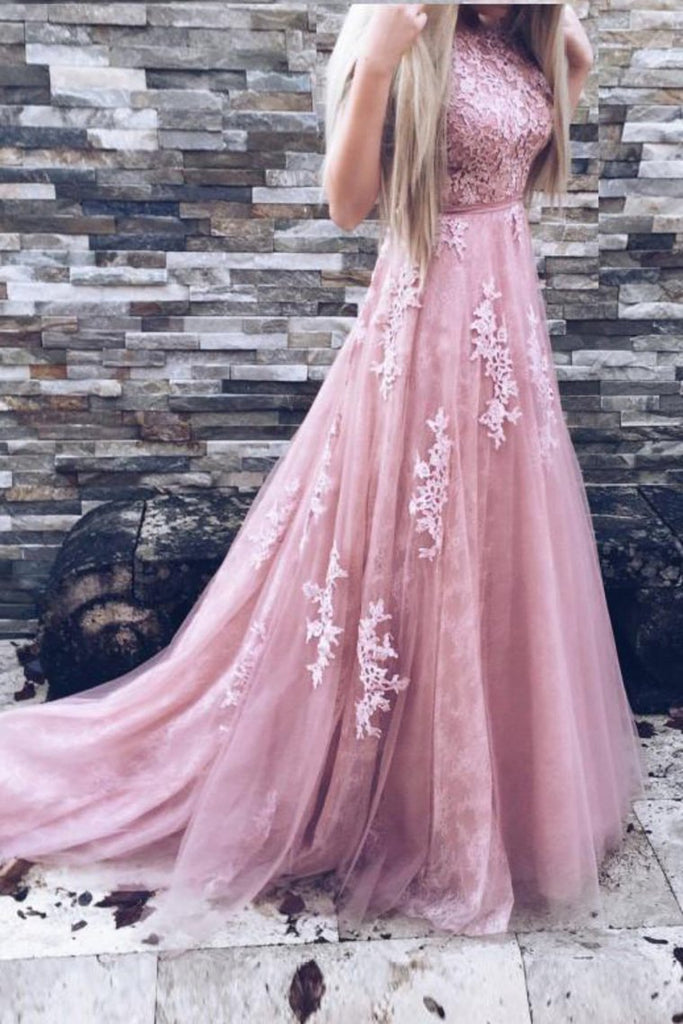 2019 Scoop A Line Prom Dresses Tulle With Applique And Sash