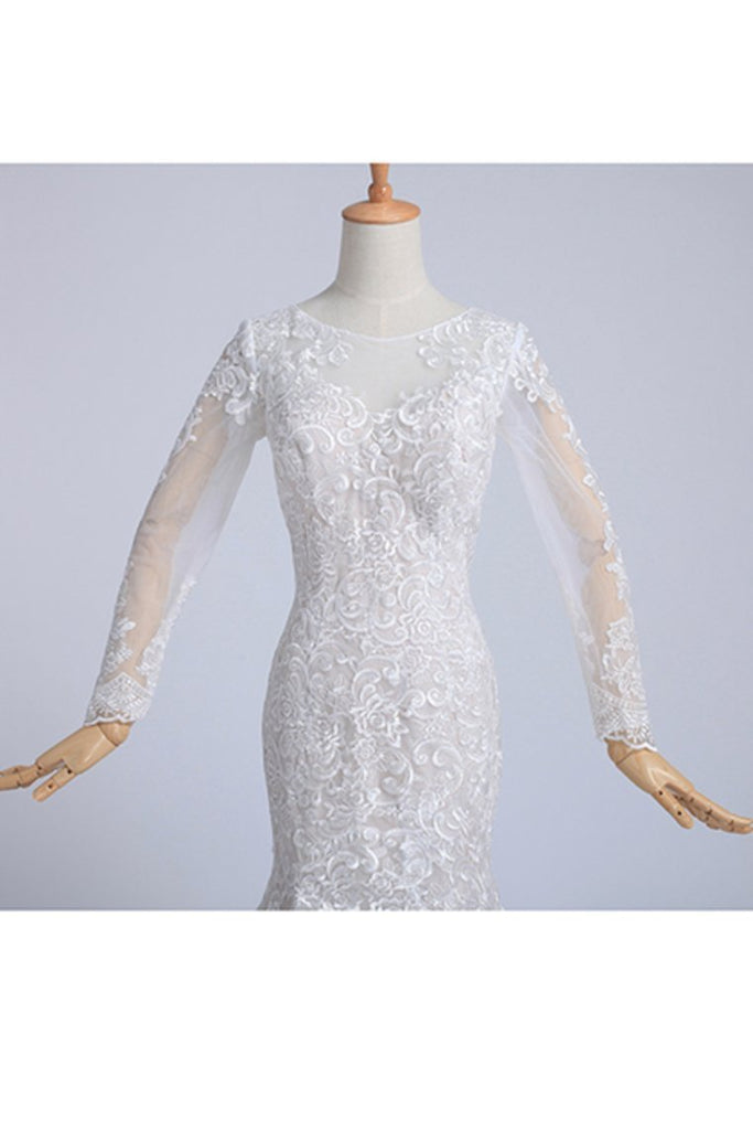 2021 Bateau Long Sleeves Wedding Dress Mermaid/Trumpet Court Trian With Applique