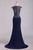 New Arrival Scoop Evening Dresses Cap Sleeves Chiffon Sheath With Applique