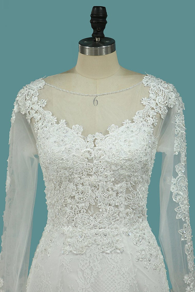 Scoop Mermaid Wedding Dresses Long Sleeves Lace