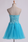 Homecoming Dress Sweet Short/Mini A Line Tulle Skirt With Applique And Beads