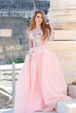 Princess Ball Gown Sweetheart Pink One Shoulder Prom Dresses, Quinceanera Dresses STC15296