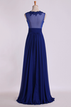 2019 V Neckline Prom Dresses Ruched Waistband Tulle Back Flowing Chiffon Skirt Full