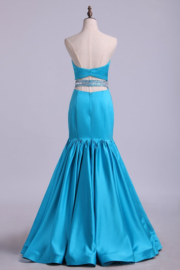 Sweetheart Mermaid Prom Dresses With Beading