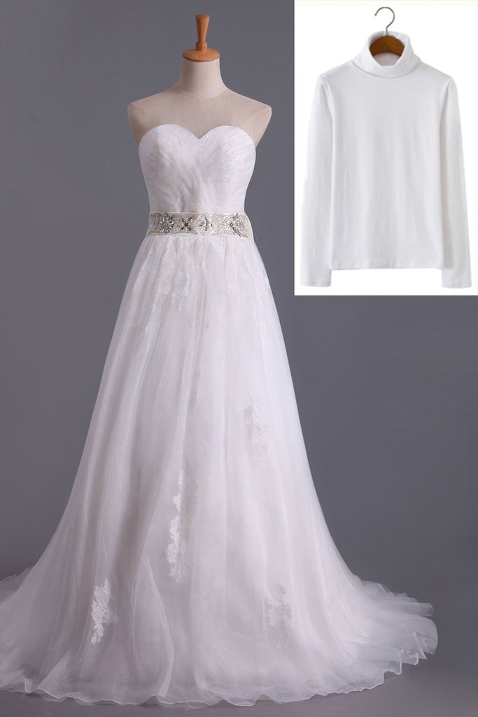 2021 Muslim Wedding Dresses Sweetheart Ball Gown Sweep/Brush Train Organza With Beading&Sequince