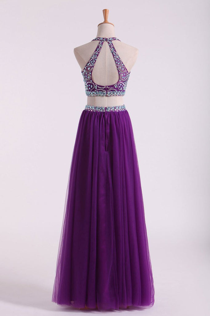 2019 Halter Two Pieces A Line Prom Dresses Beaded Bodice Tulle Floor Length