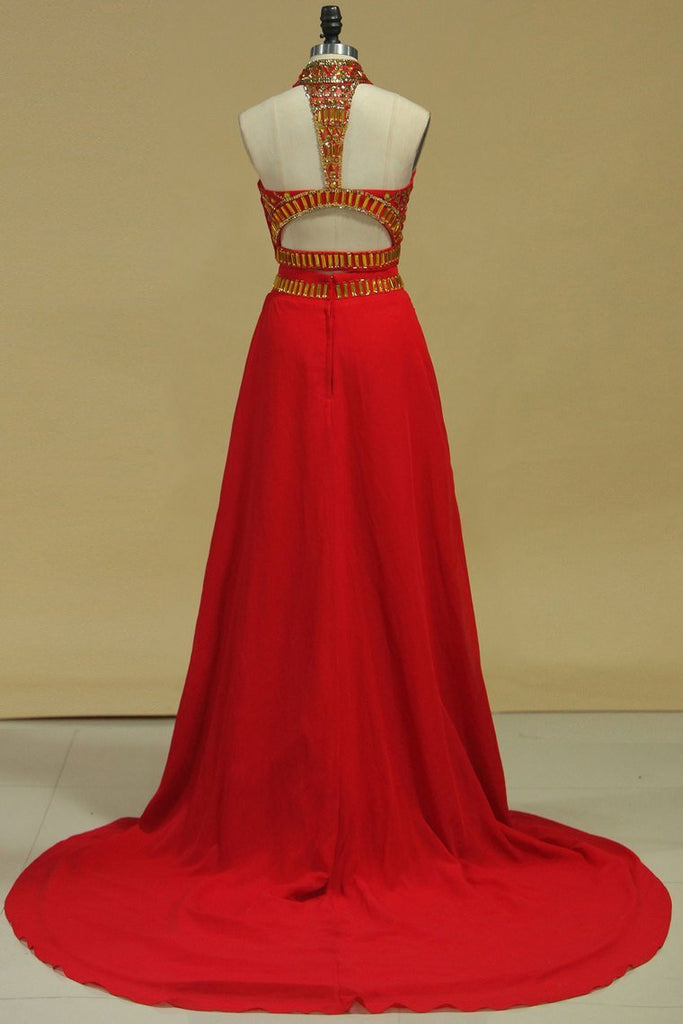 2019 Two-Piece High Neck With Beading Chiffon Prom