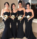 Elegant Mermaid Black Sweetheart Strapless Bridesmaid Dresses with Lace STC20462