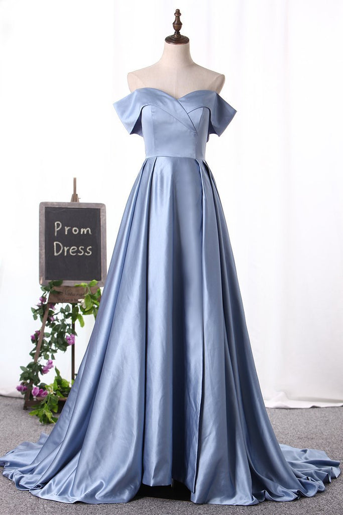 2019 Off The Shoulder Prom Dresses A Line Satin With