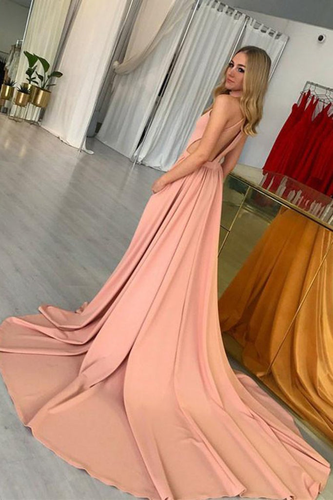 2019 Sexy Open Back High Neck A Line Satin Court Train