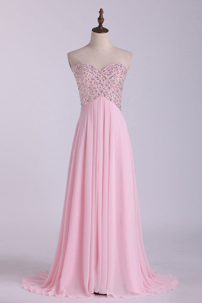 Sexy Open Back Prom Dress Sweetheart A Line Floor Length Chiffon With