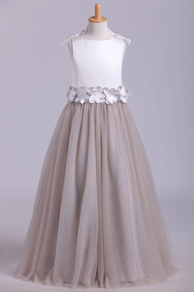 New Flower Girl Dresses Bateau A Line Tulle With Handmade Flowers