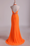 2019 Prom Dresses Halter Sheath Chiffon With Beads And Ruffles Floor Length