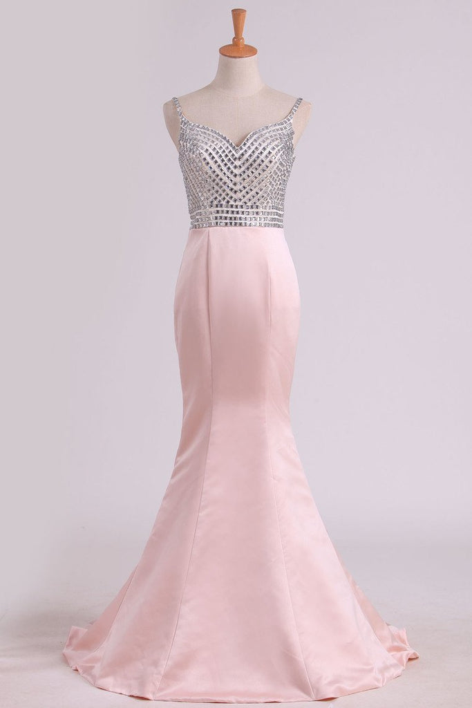 Spaghetti Straps Mermaid Prom Dresses Satin With Beading Sweep