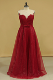 2019 Burgundy/Maroon Prom Dresses Scoop A Line With Sash And Applique