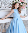 Princess A Line Sky Blue Satin Flower Girl Dresses with Bowknot, Baby Dresses STC15586