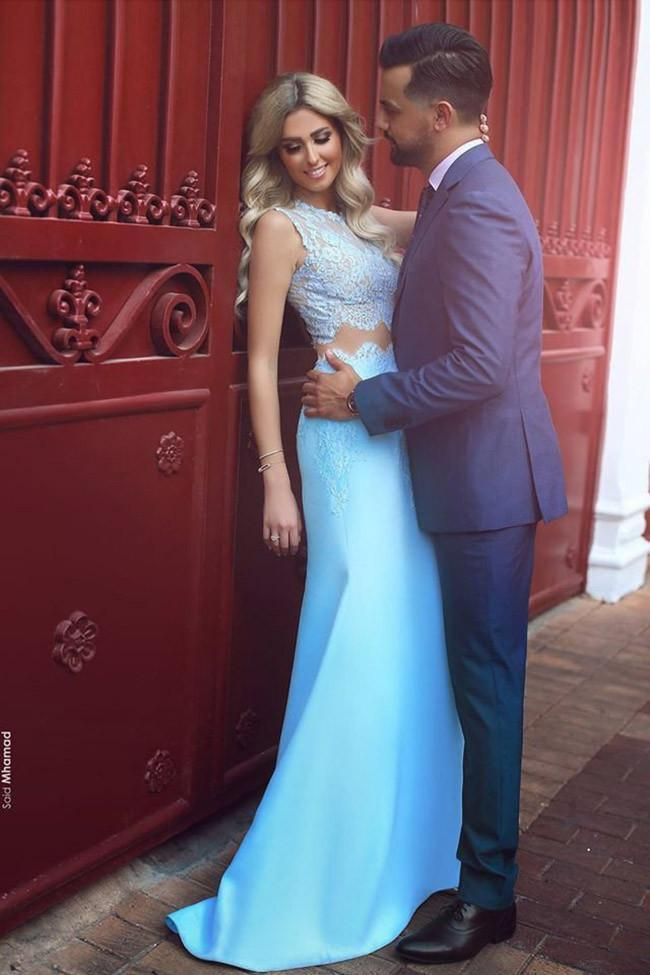 Elegant Two Piece Mermaid Blue Lace High Neck Cap Sleeve Satin Prom Dresses