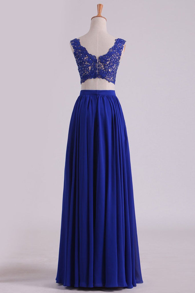 2019 Two-Piece Straps Chiffon With Applique And Beads Prom