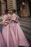 Ball Gown High Neck Satin V Neck Bridesmaid Dresses with Bowknot, Wedding Party Dress STC15559