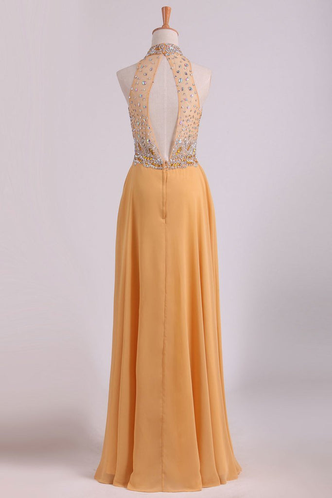 High Neck A Line Chiffon Beaded Bodice Prom Dresses Sweep Train
