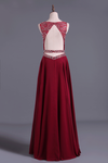 2019 Burgundy/Maroon Scoop A Line Prom Dresses Chiffon A Line With Beading