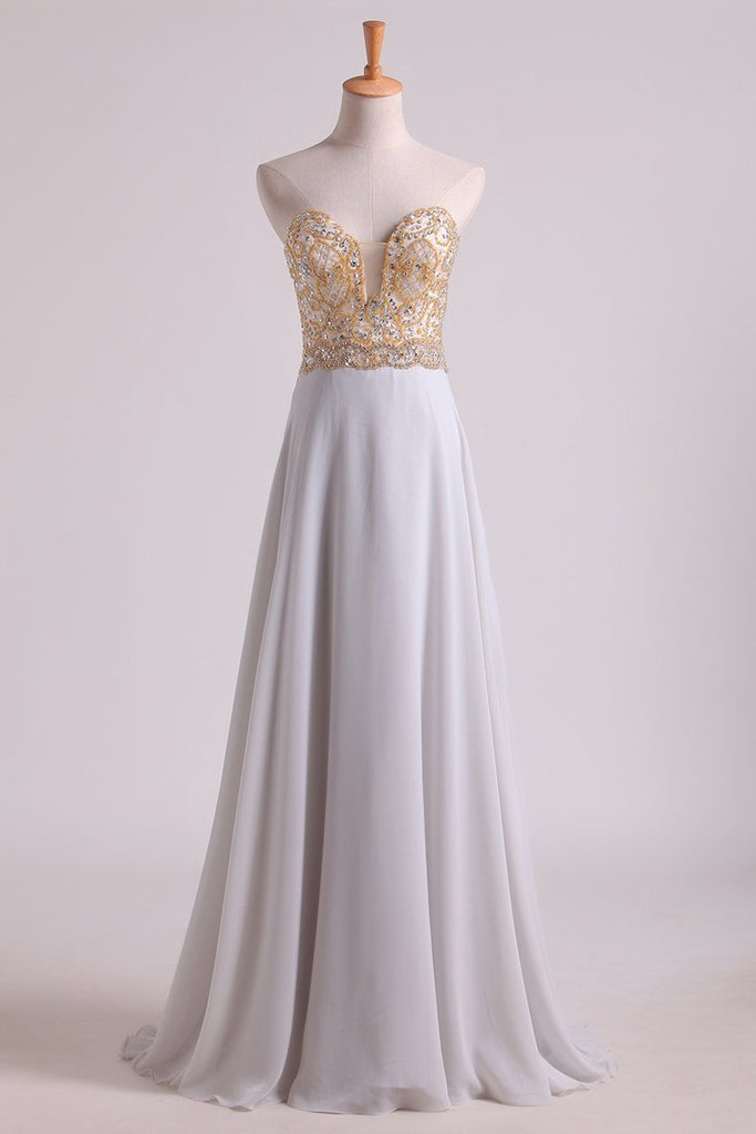 Prom Dresses Sweetheart A Line With Beads Floor Length