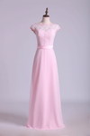 Cap Sleeve Chiffon & Lace Bridesmaid Dresses A-Line Floor-Length New