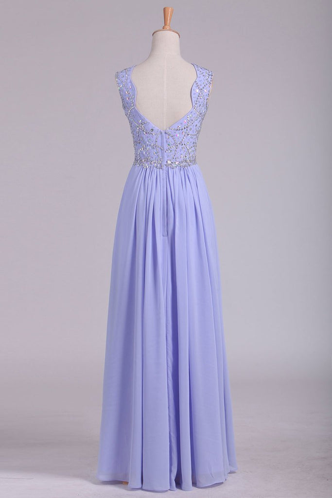 2019 Prom Dresses A Line Straps Beaded Bodice Open Back Chiffon