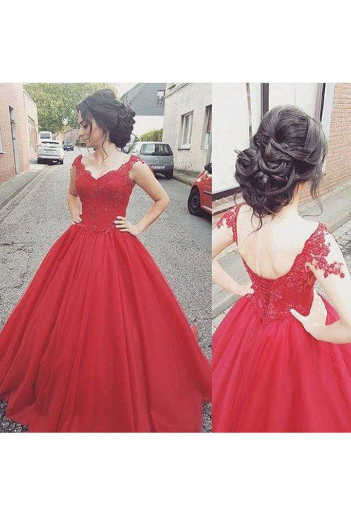 2019 V Neck A Line Tulle Prom Dresses With Applique Sweep