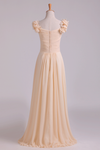 Off The Shoulder Bridesmaid Dresses A-Line Chiffon With Ruffles