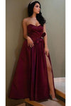 Unique A Line Burgundy Sweetheart Satin Strapless Prom Dresses Evening STC15676