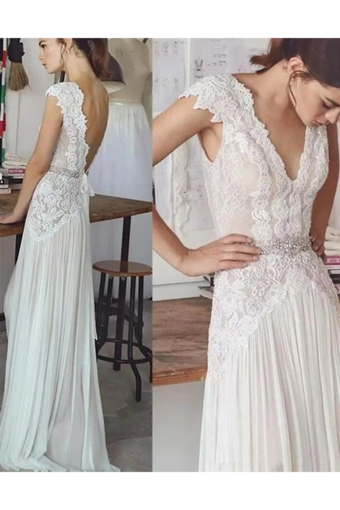 Unique V Neck Cap Sleeves Chiffon Beach Wedding Dress With Beading STCPGG9HAF7