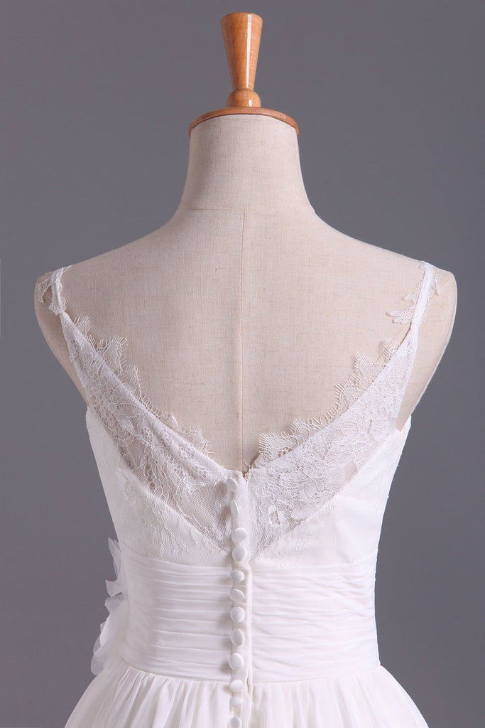 2019 Spaghetti Straps With Applique & Handmade Flowers Chiffon A Line Wedding