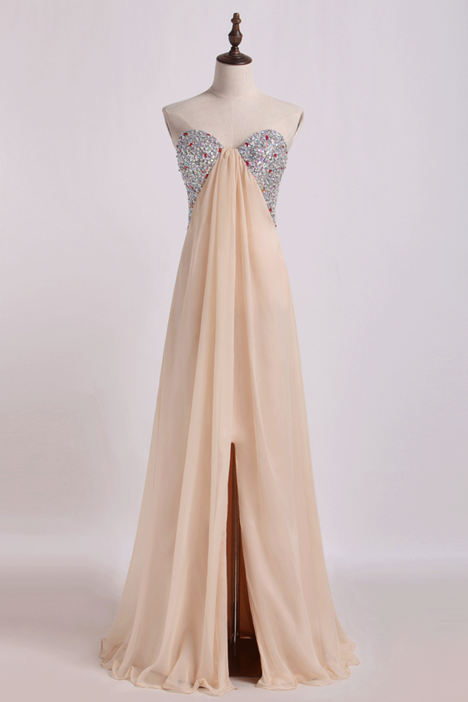2019 Sweetheart A Line Prom Dresses Chiffon With Slit&Beads Floor