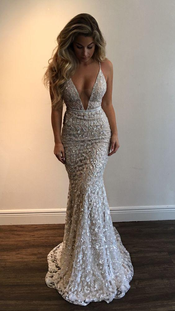 Gorgeous Deep V-Neck Spaghetti Straps Sleeveless Mermaid Long Prom Dresses
