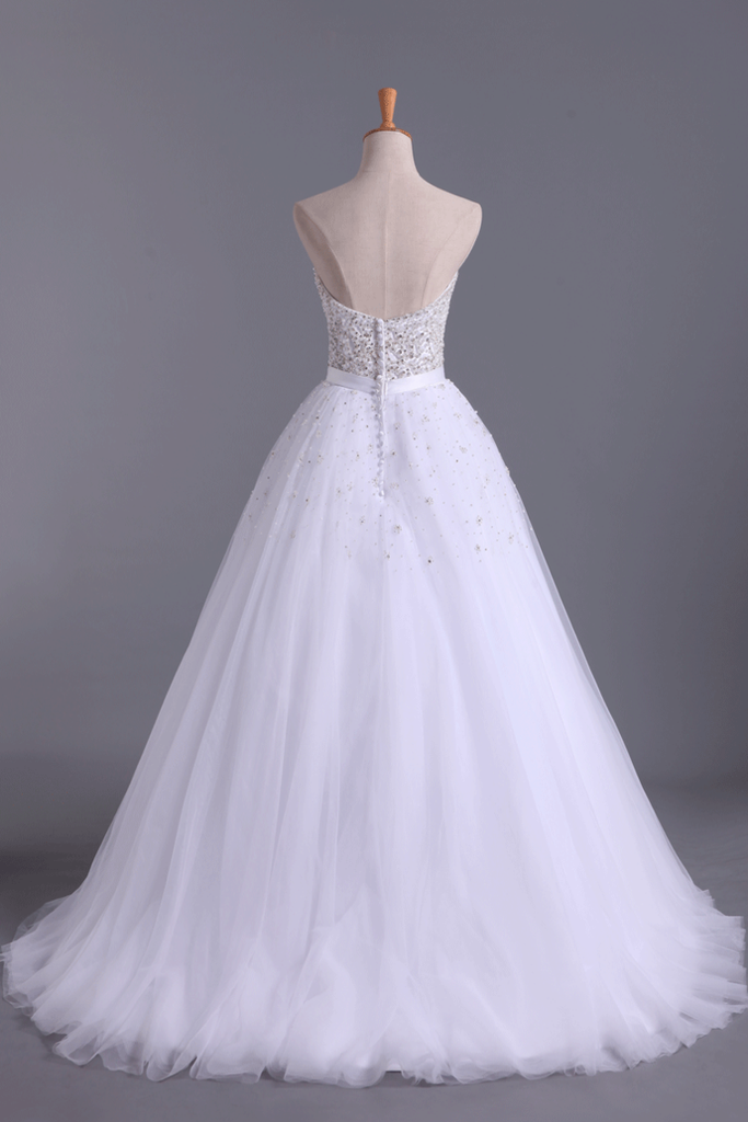 2019 Wedding Dresses Sweetheart Ball Gown Tulle With Beading And