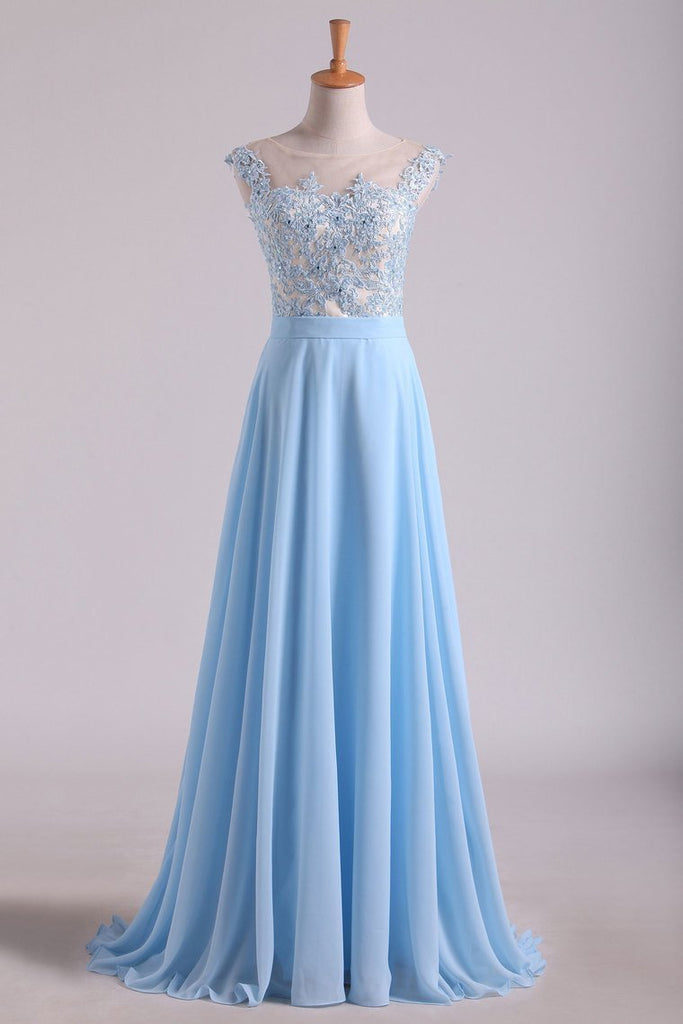 2019 Scoop Cap Sleeves Prom Dresses Chiffon With Applique Floor