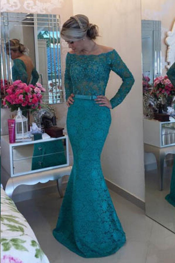 2019 Long Sleeves Boat Neck Prom Dresses Mermaid Lace With Sash And Beads