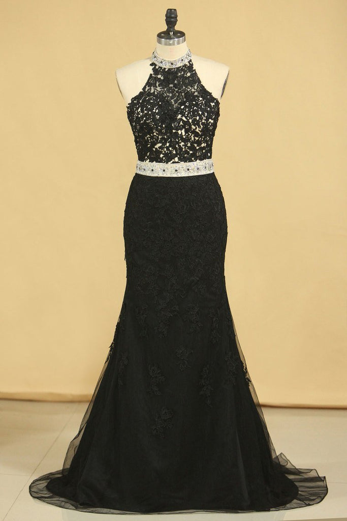 2019 Black Plus Size Prom Dresses Mermaid High Neck Open Back Tulle With Applique & Rhinestones