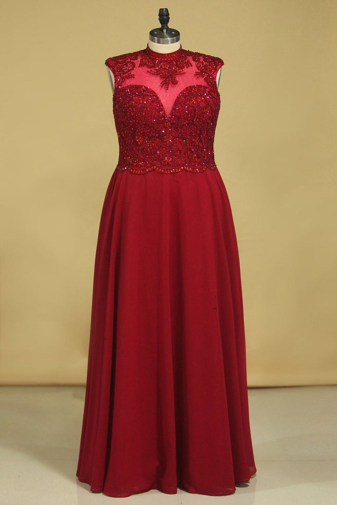 2019 High Neck  Prom Dresses Beaded Bodice Burgundy/Maroon A Line Chiffon Open Back