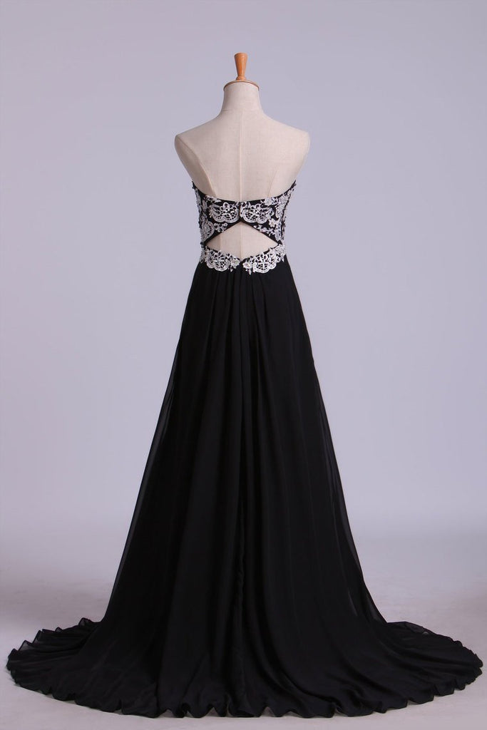 Fascinating Sweetheart A Line Floor Length Prom Dresses With Applique Chiffon