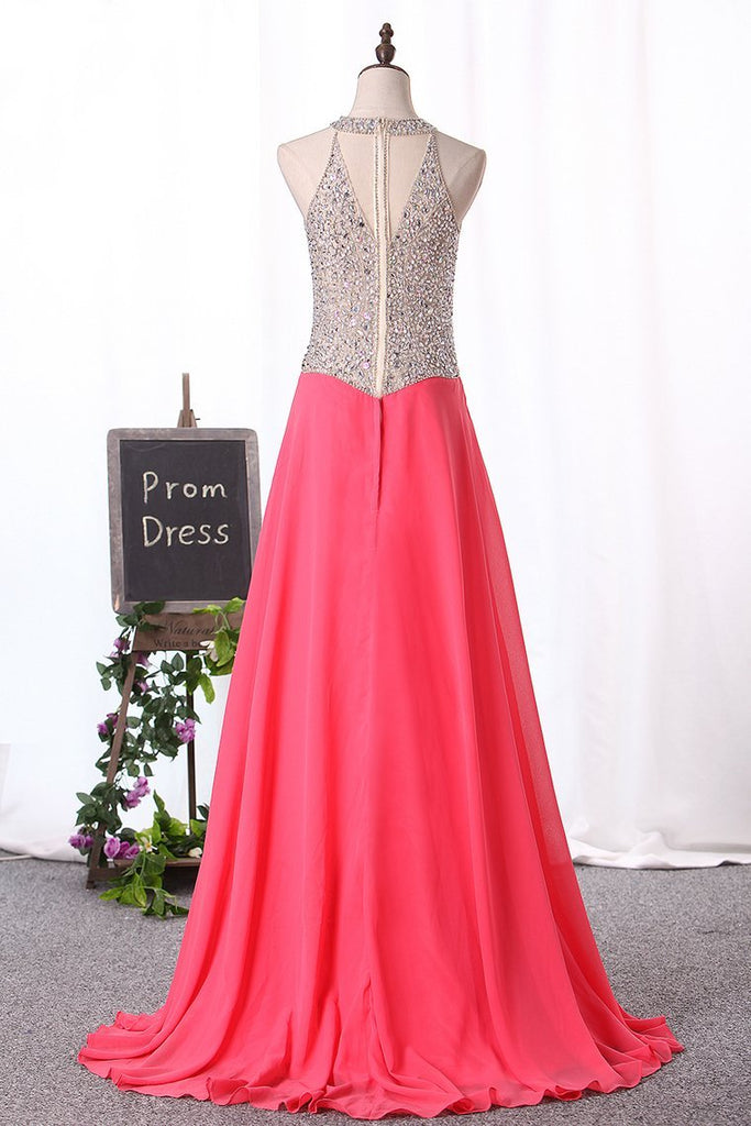 2019 Sexy Scoop-Neck A Line Prom Dresses Chiffon With Beaded Bodice