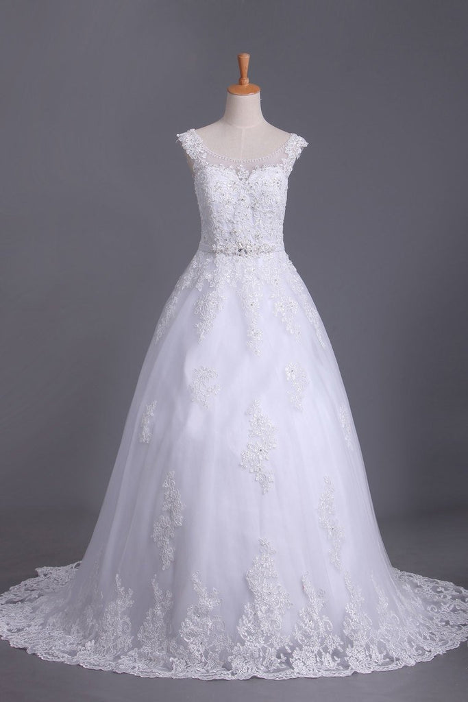 2020 A Line Cap Sleeve Scoop Tulle Wedding Dresses With Applique And Sash