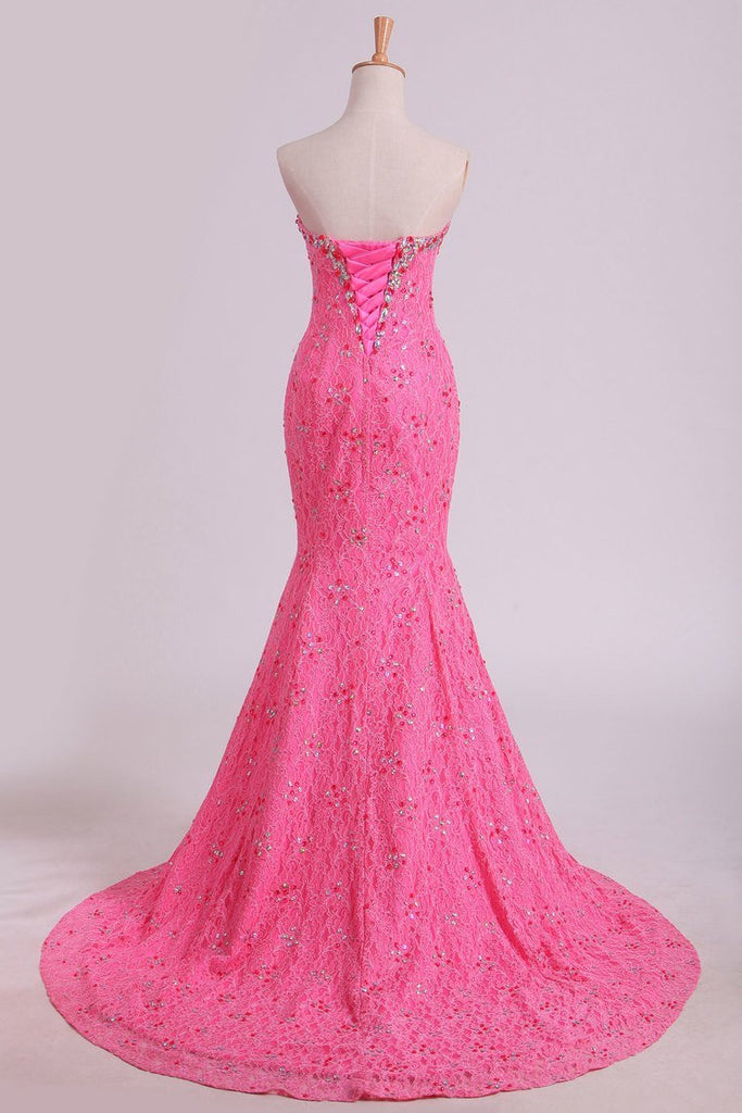 2019 Stunning Sweetheart Mermaid Prom Dresses With Beads Floor-Length